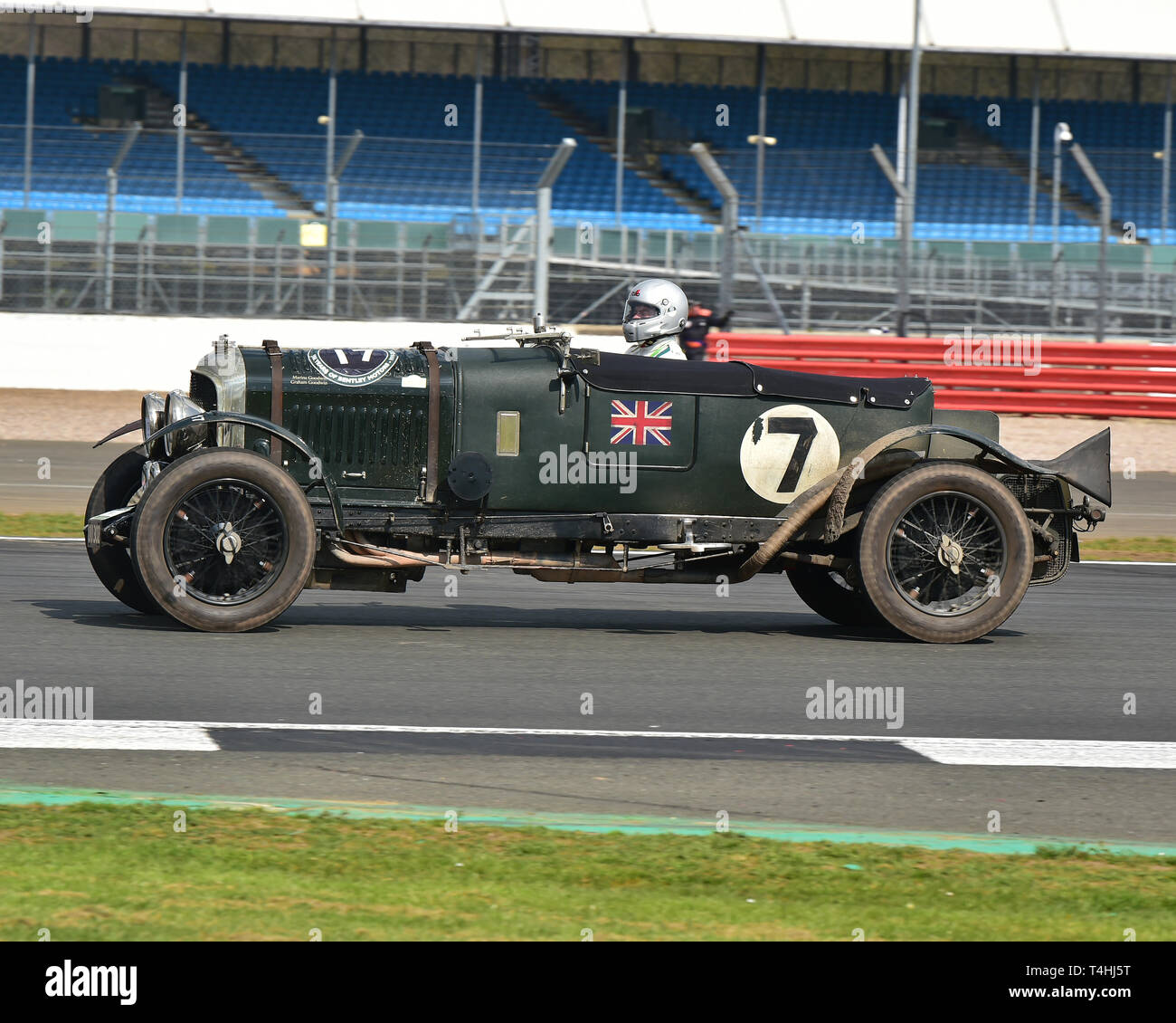 Graham Goodwin, Bentley 4½ Litre Le Mans replica, Benjafield 100, 100 Years of Bentley, April 2019,  Silverstone, Northamptonshire, England, circuit r - Stock Image