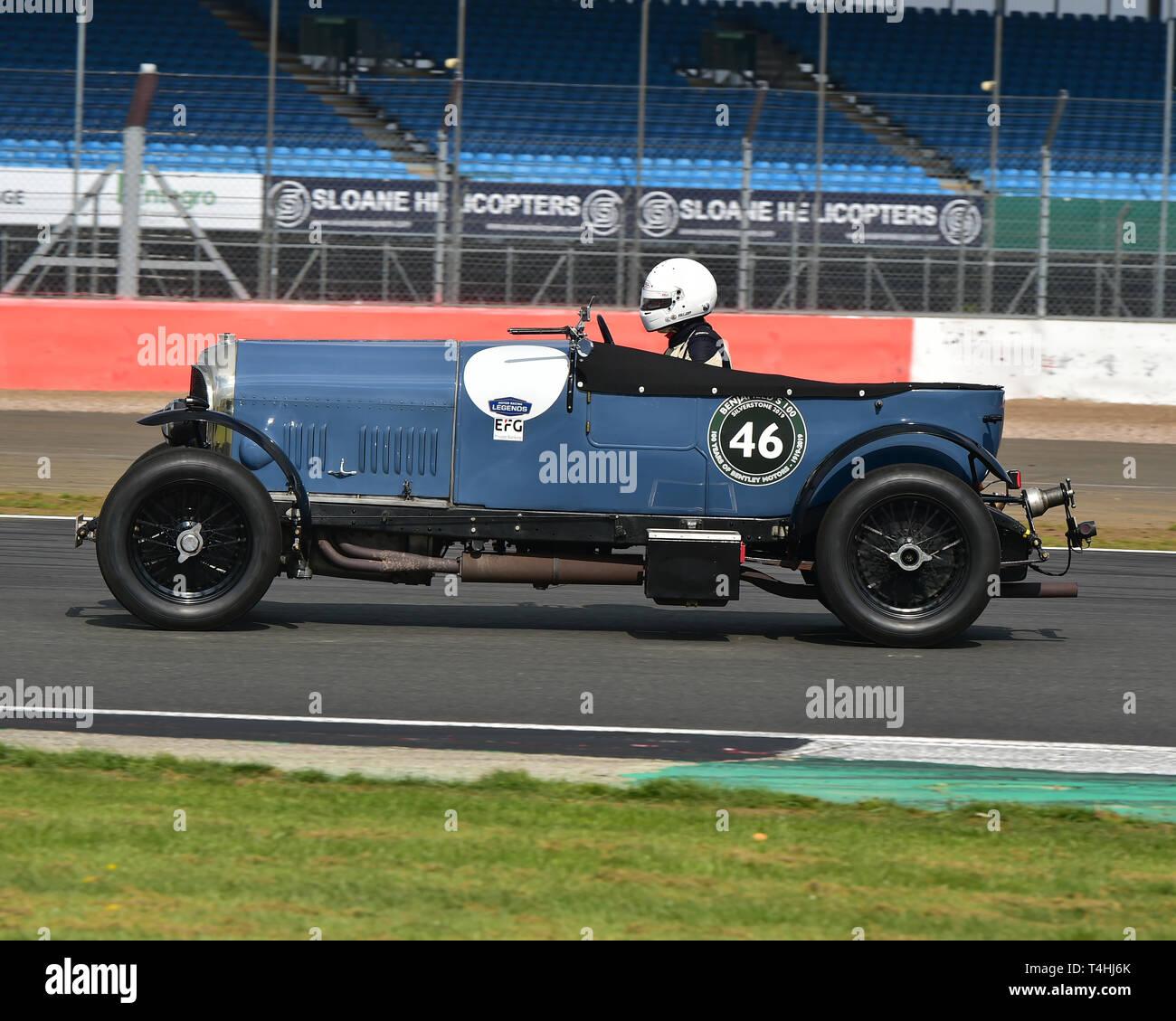 Duncan Wiltshire, Clive Morley, Bentley 3 litre, Benjafield 100, 100 Years of Bentley, April 2019,  Silverstone, Northamptonshire, England, circuit ra - Stock Image