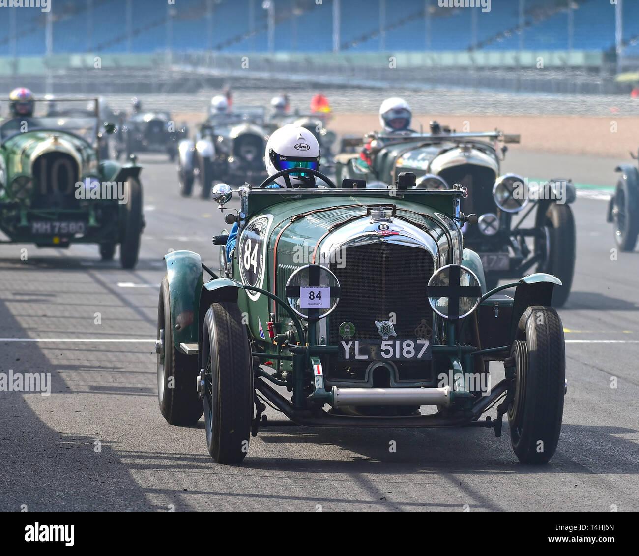 Neil Sandwith, Bentley 3-4½ litre, Benjafield 100, 100 Years of Bentley, April 2019,  Silverstone, Northamptonshire, England, circuit racing, classic  - Stock Image