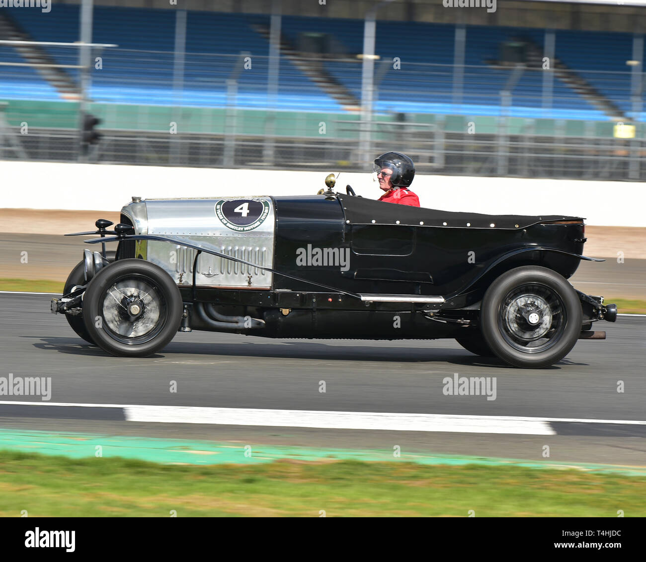 William Elbourn Jnr, Bentley 3-4½ litre Light Tourer, Benjafield 100, 100 Years of Bentley, April 2019,  Silverstone, Northamptonshire, England, circu - Stock Image