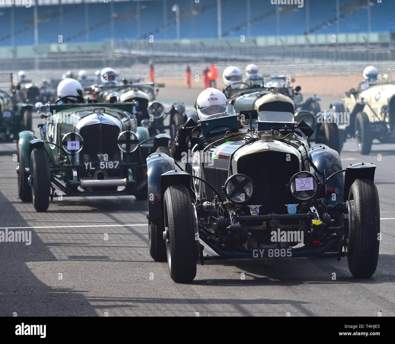 David Ayre, Bentley 4 ½ litre, Benjafield 100, 100 Years of Bentley, April 2019,  Silverstone, Northamptonshire, England, circuit racing, classic cars - Stock Image