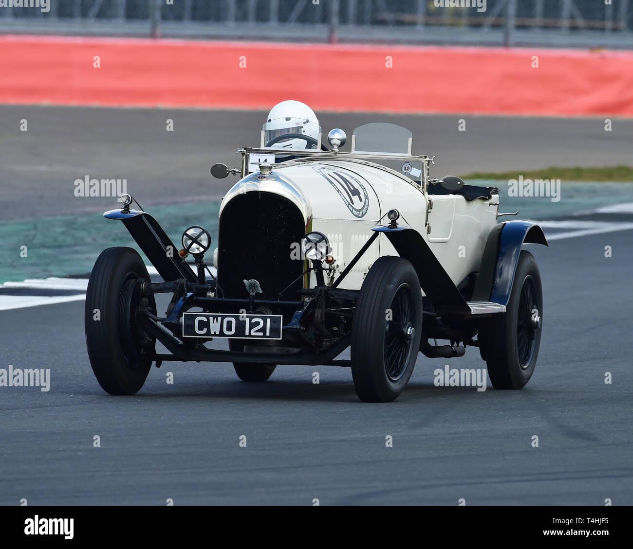Vivian Bush, Jock MacKinnon, Bentley 3 litre Speed Model, Benjafield 100, 100 Years of Bentley, April 2019,  Silverstone, Northamptonshire, England, c - Stock Image
