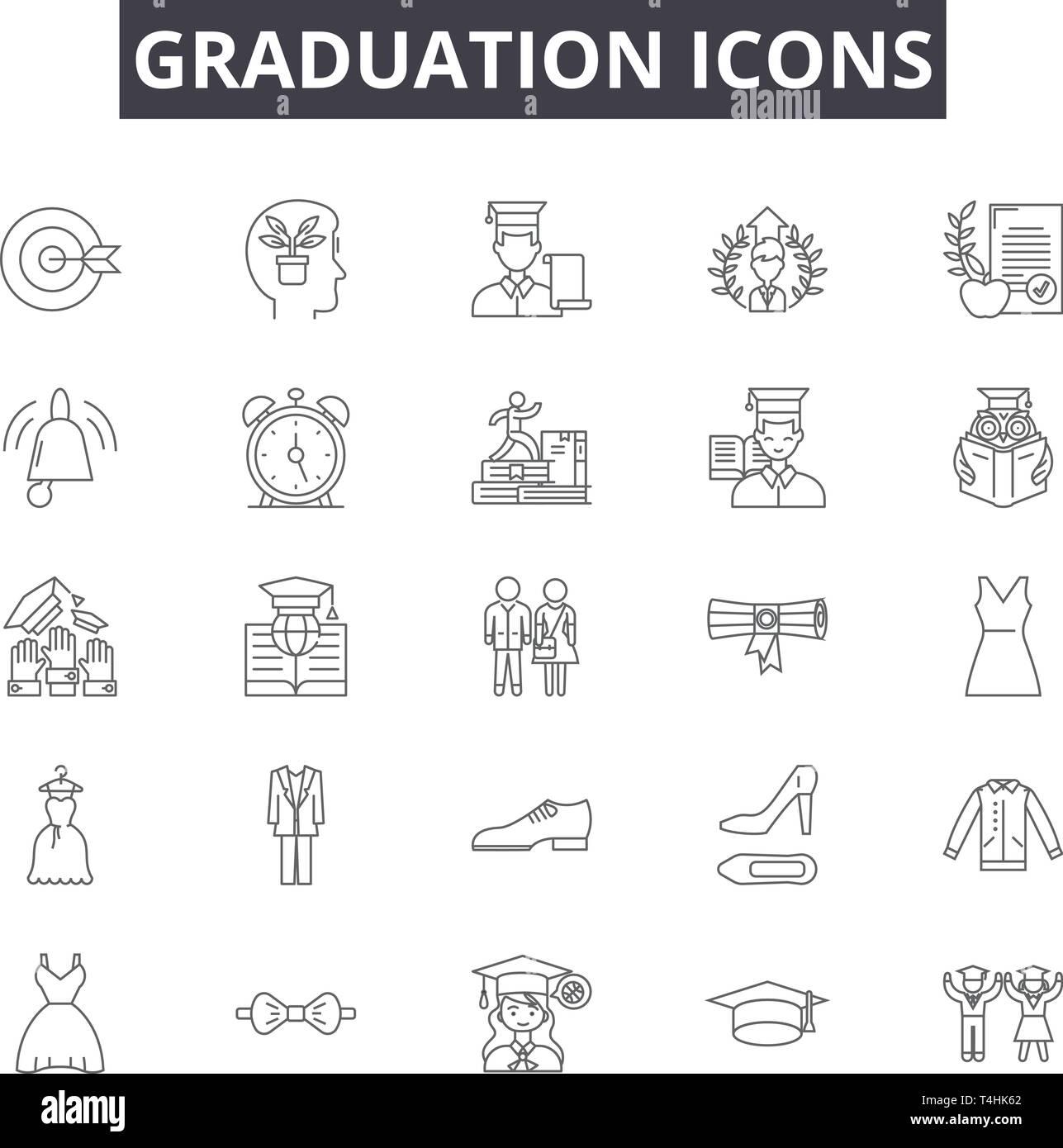 Graduation line icons, signs set, vector  Graduation outline