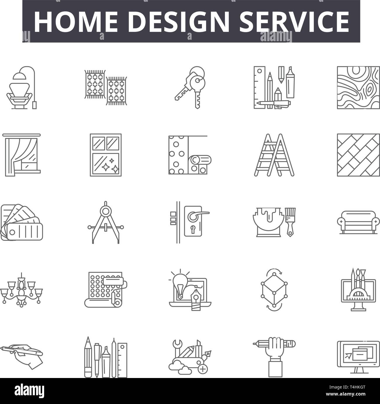 Home Design Service Line Icons Signs Set Vector Home