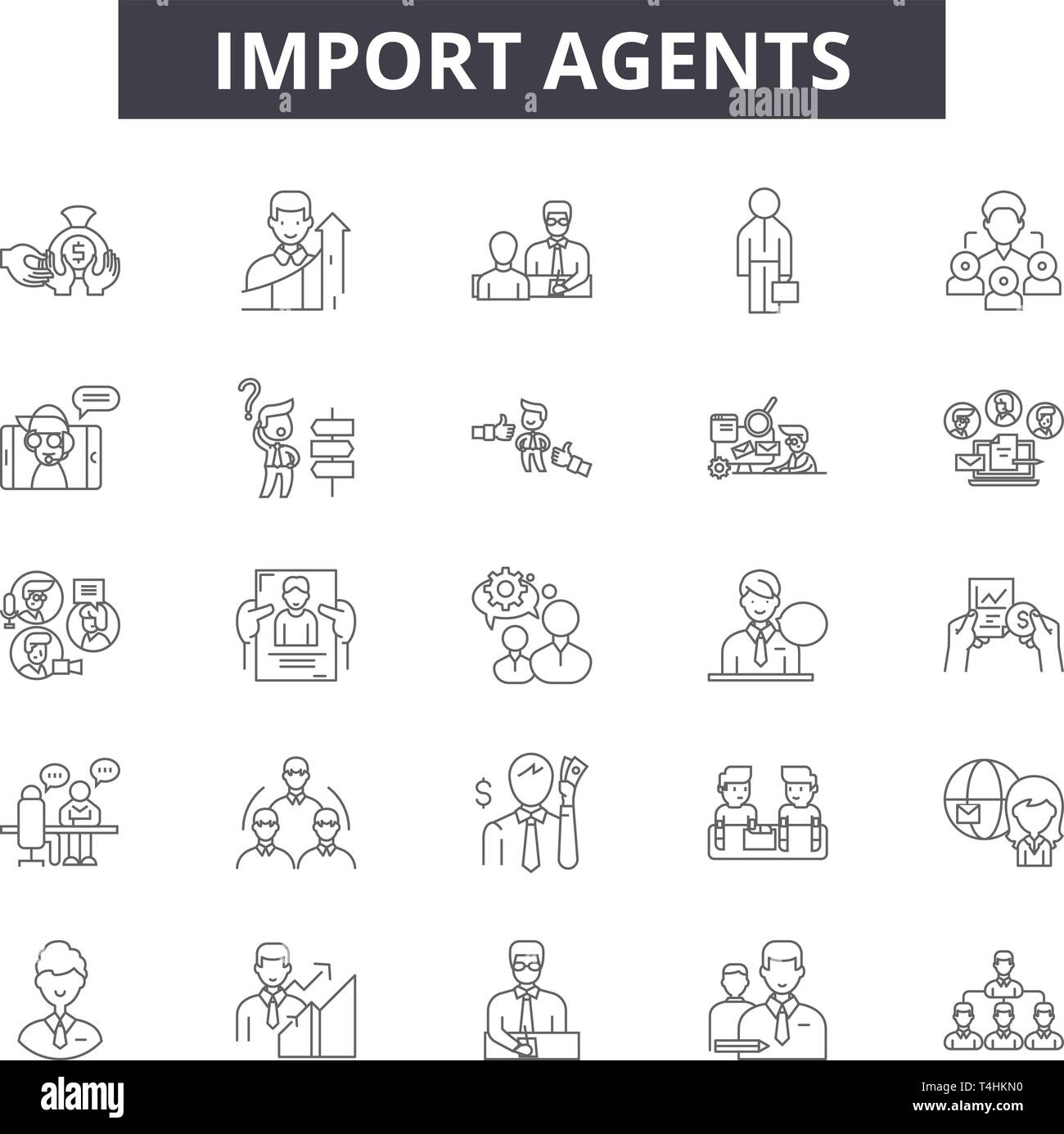 Import agents line icons, signs set, vector. Import agents outline concept illustration: agent,transportation,export,delivery,shipping,cargo,internati - Stock Vector