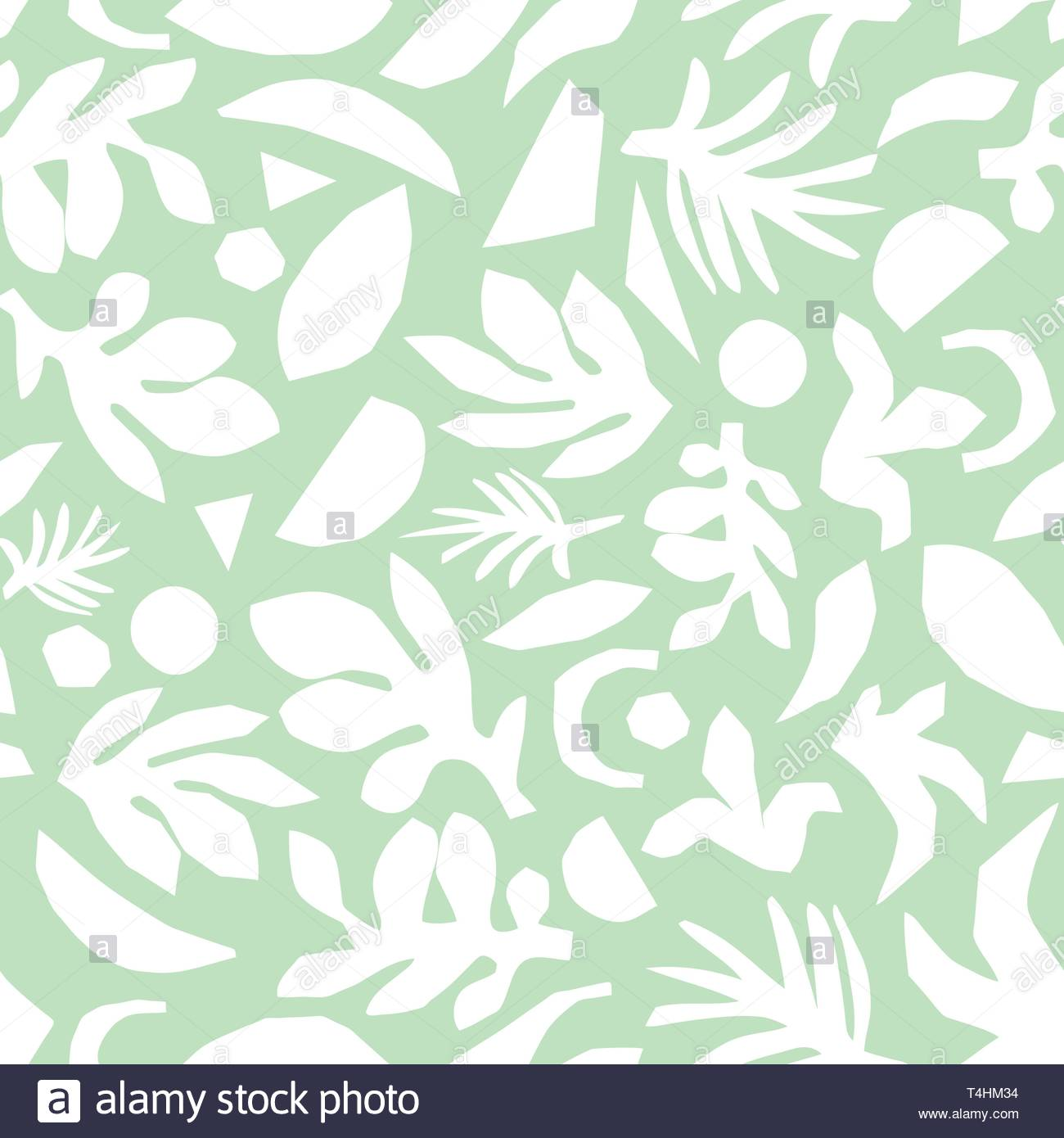 Abstract Mint Green And White Floral Background Vector Seamless
