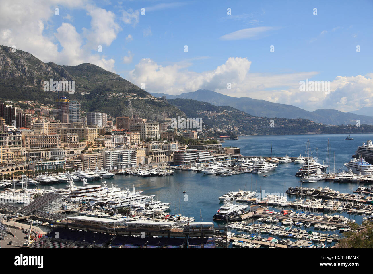Port Hercule, Harbor, Monte Carlo, Monaco, Cote d Azur, Mediterranean, Europe - Stock Image