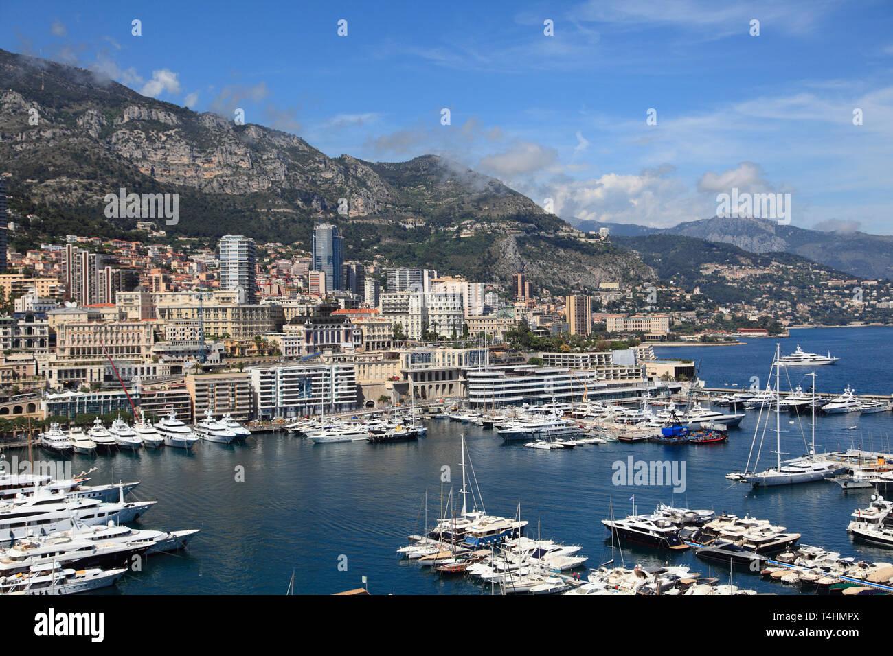 Port Hercules, Harbor, Monte Carlo, Monaco, Cote d'Azur, Mediterranean, Europe - Stock Image