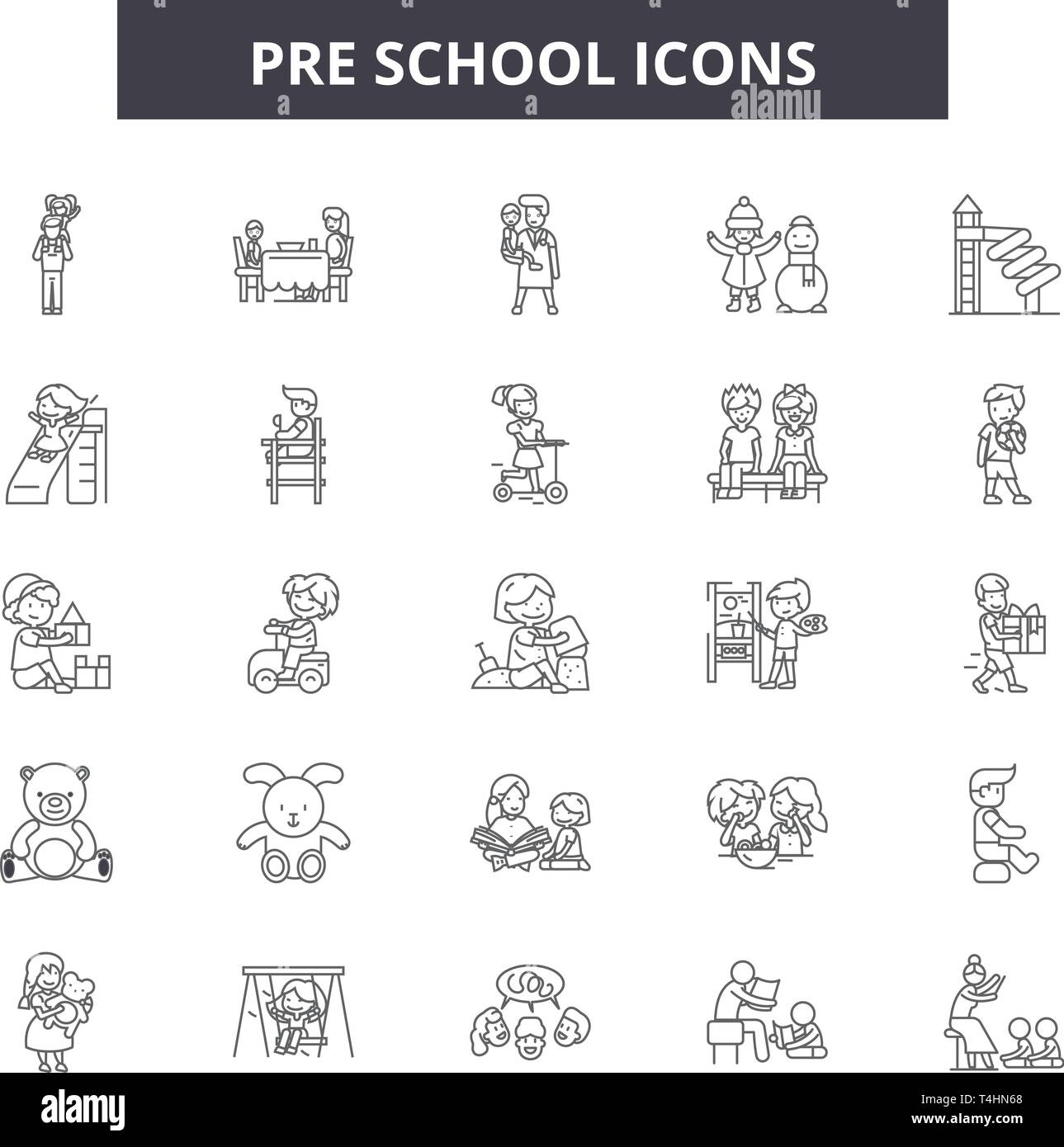 Pre school line icons, signs set, vector. Pre school outline concept, illustration: child,dehappy,kid,preschool,play - Stock Image