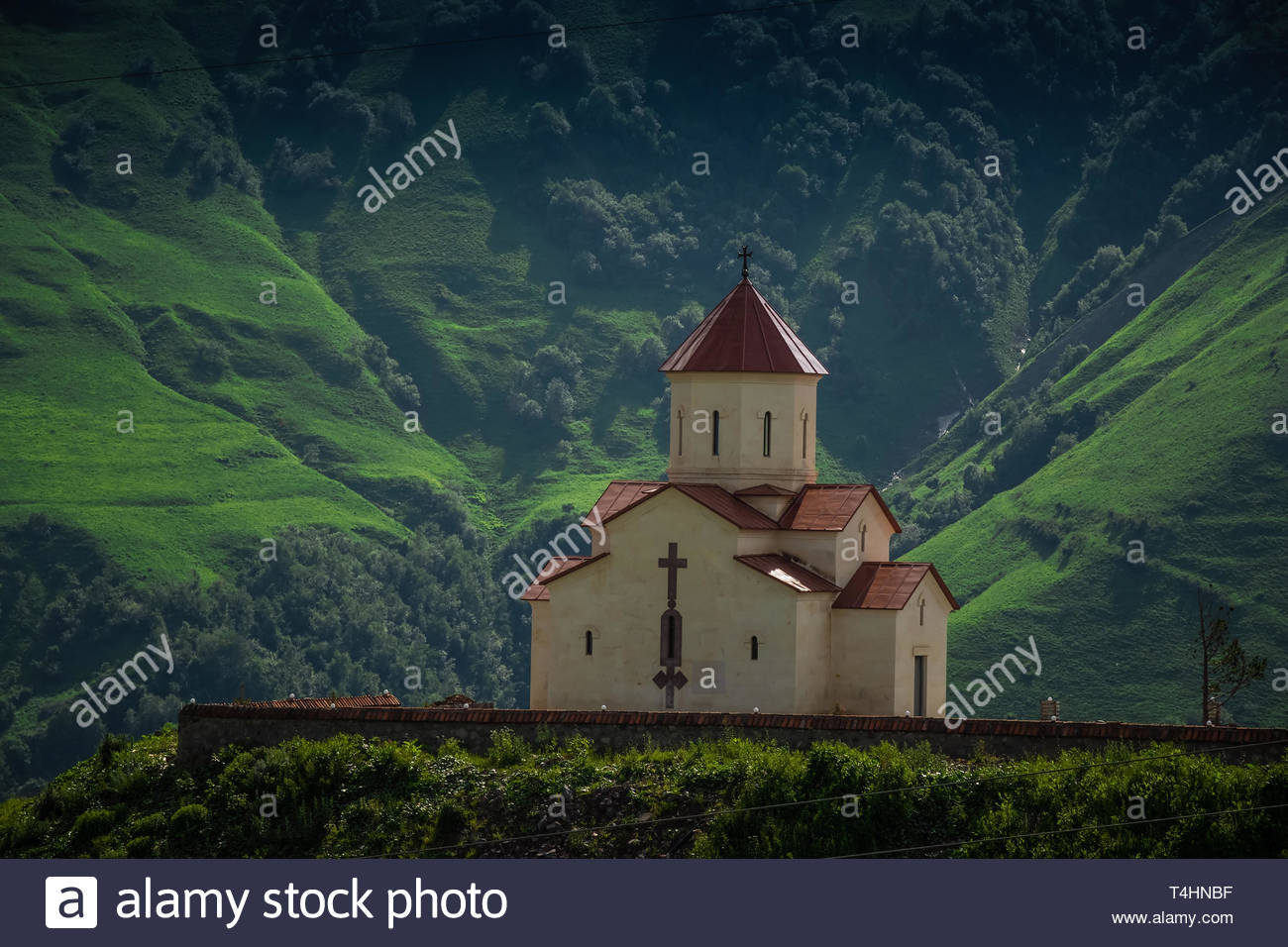 slopes highlight church - Stock Image