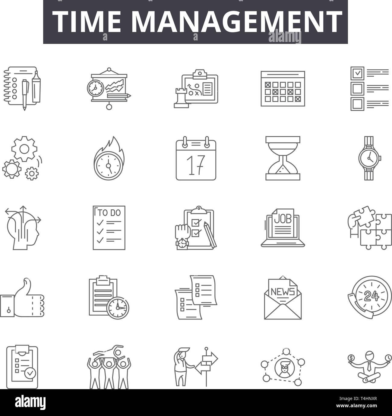 Time management line icons, signs set, vector. Time management outline concept, illustration: time,clock,management,schedule,business,concept - Stock Image