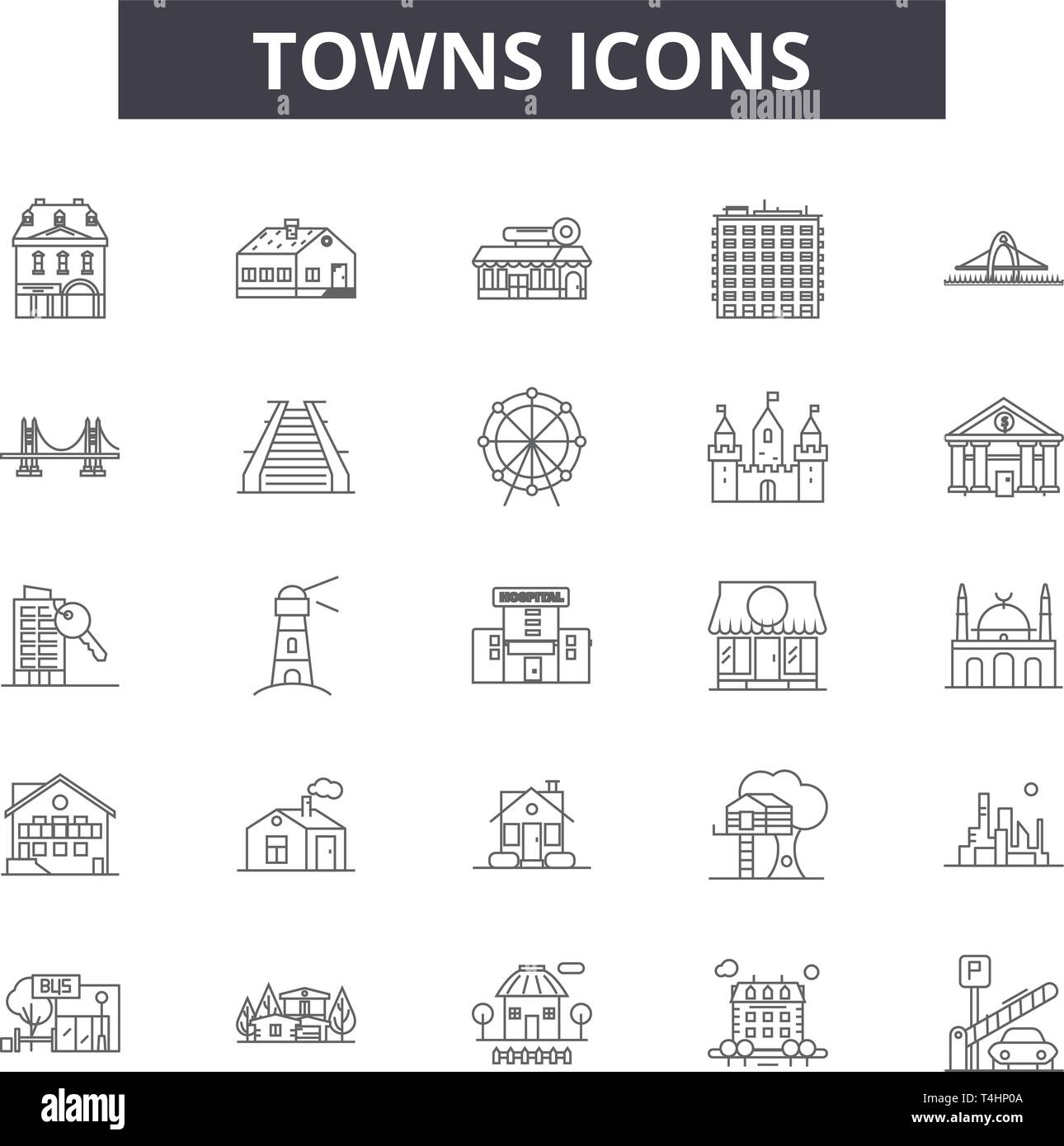 Towns line icons, signs set, vector. Towns outline concept, illustration: city,town,urban,house,home,architecture - Stock Vector