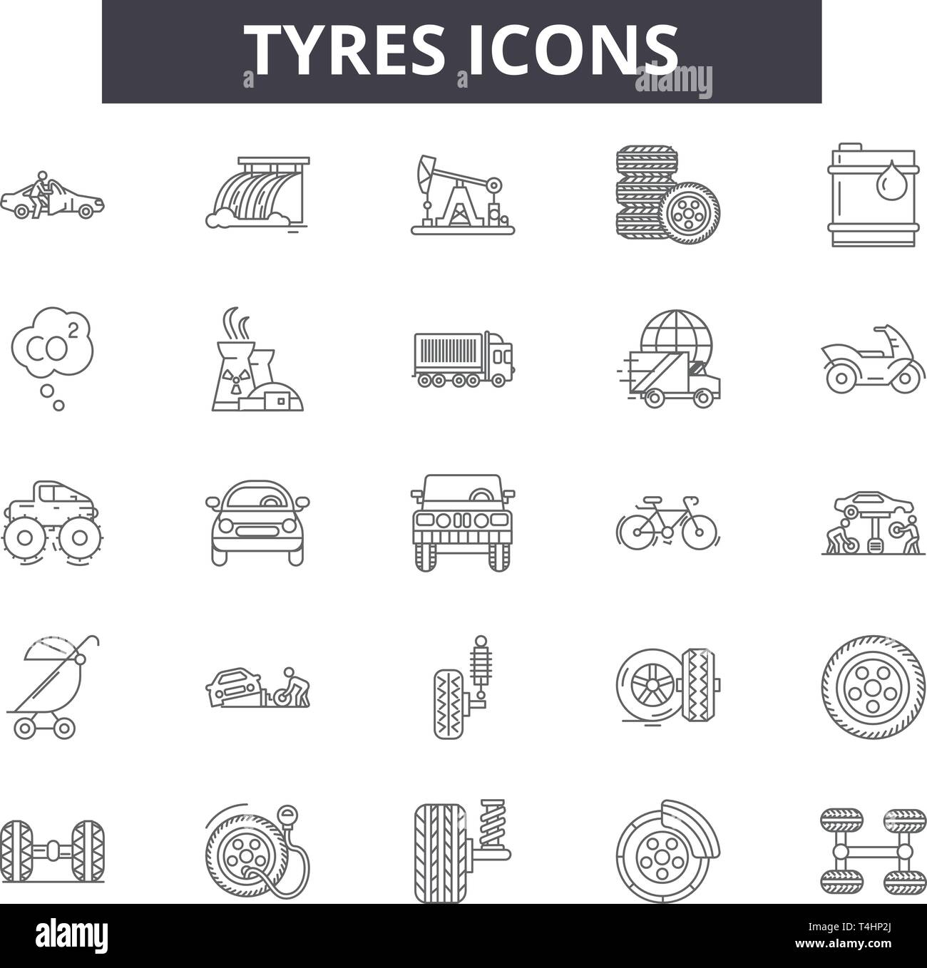 Tyres line icons, signs set, vector. Tyres outline concept, illustration: tire,black,tyre,car,wheel,auto,isolated - Stock Vector