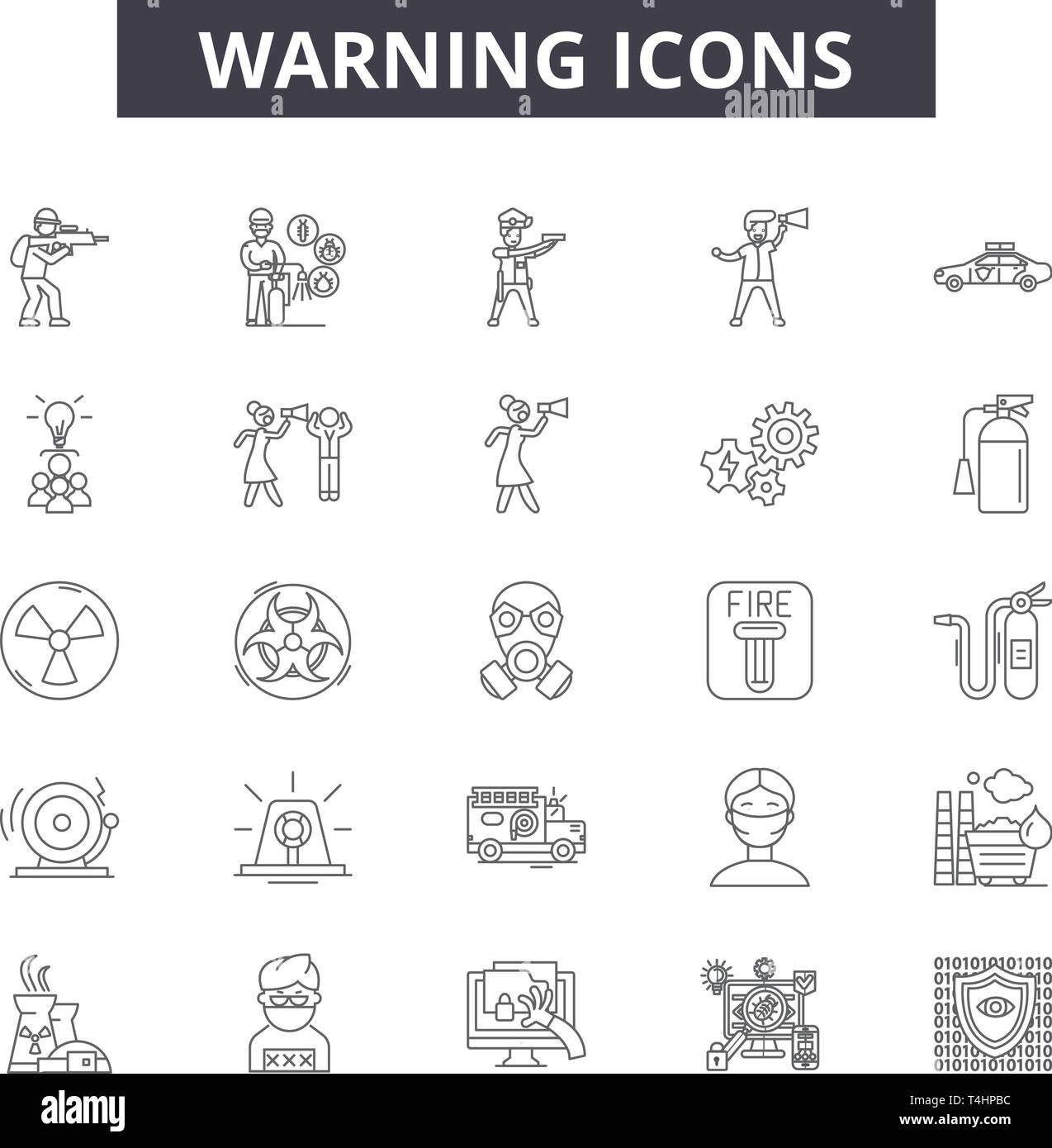 Warning Line Icons Signs Set Vector Warning Outline Concept
