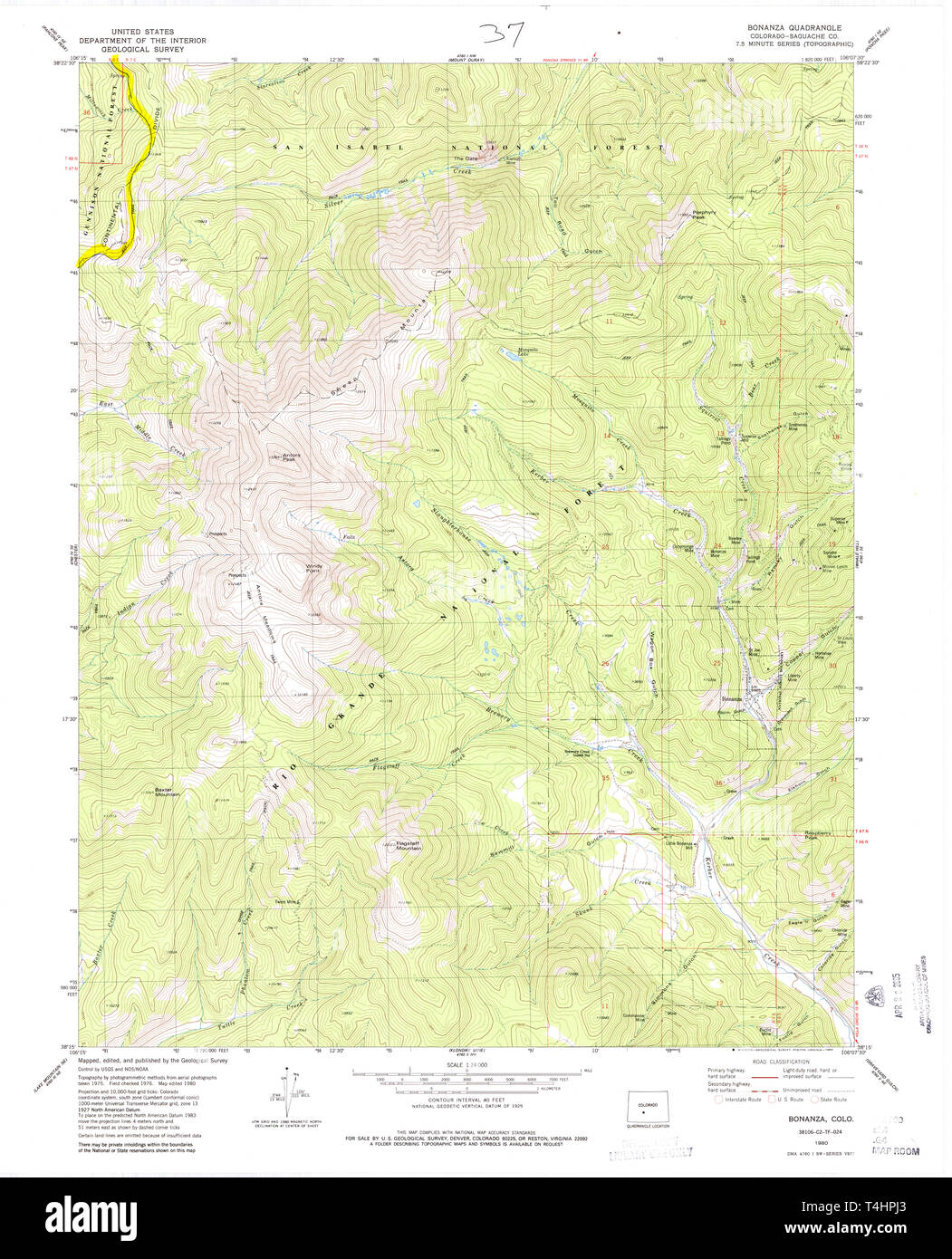 USGS TOPO Map Colorado CO Bonanza 400186 1980 24000 Restoration Stock Photo