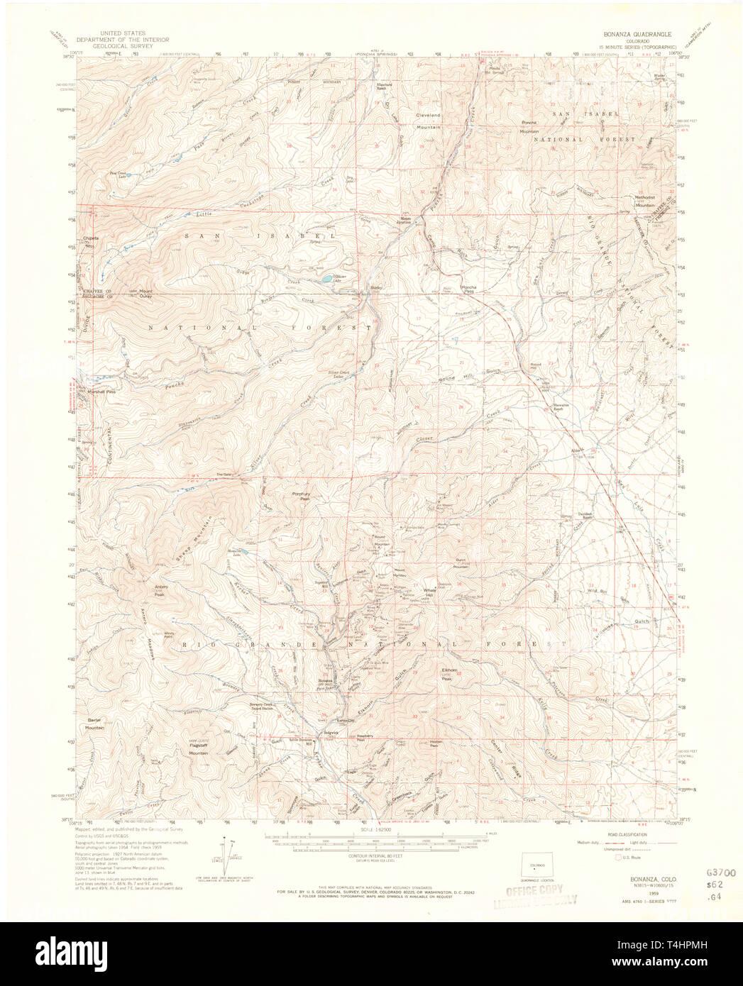 USGS TOPO Map Colorado CO Bonanza 402325 1959 62500 Restoration Stock Photo