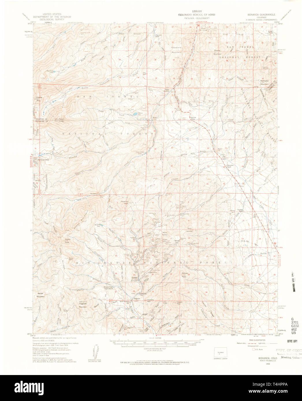 USGS TOPO Map Colorado CO Bonanza 402327 1959 62500 Restoration Stock Photo