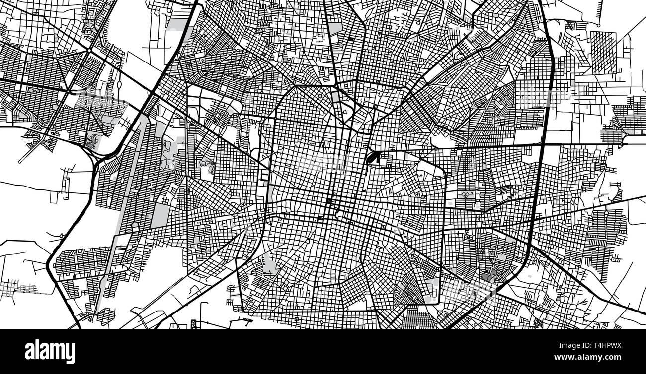Urban vector city map of Merida, Mexico Stock Vector