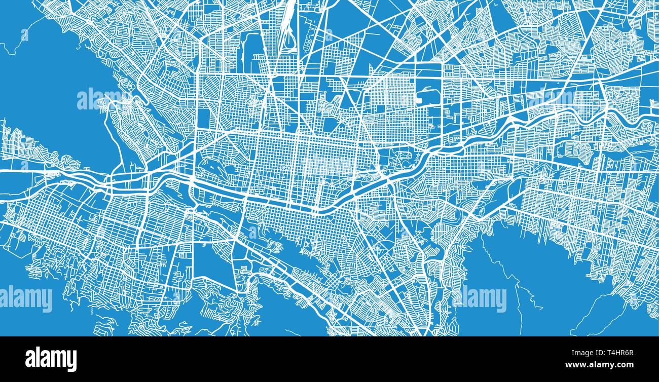 Urban Vector City Map Of Monterrey Mexico Stock Vector Art