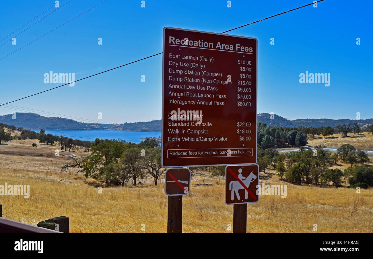 Recreation Area Fees, New Melones Reservoir, California - Stock Image