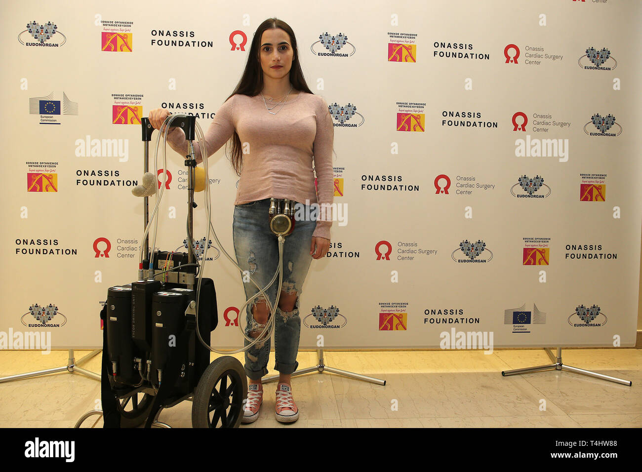 Athens, Greece. 15th Apr, 2019. Eleana Vrozidi, 28, who has been on the waiting list for a transplant operation for three years and two months, attends the Hellenic Transplant Organization's social awareness event in Athens, Greece, on April 15, 2019. Greece aims to double the rate of human organ donations for transplants within the next two years, the President of the Hellenic Transplant Organization (EOM), Andreas Karabinis, told Xinhua on Monday. Credit: Marios Lolos/Xinhua/Alamy Live News - Stock Image