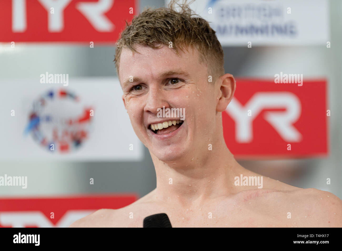 Glasgow, UK. 16th Apr, 2019. Thomas Howdle interviewed by press after winning the British Championship for Men Open 50m Backstroke Final during British Swimming Championships 2019 at Tollcross International Swimming Centre on Tuesday, April 16, 2019 in Glasgow Scotland. Credit: Taka G Wu/Alamy Live News - Stock Image