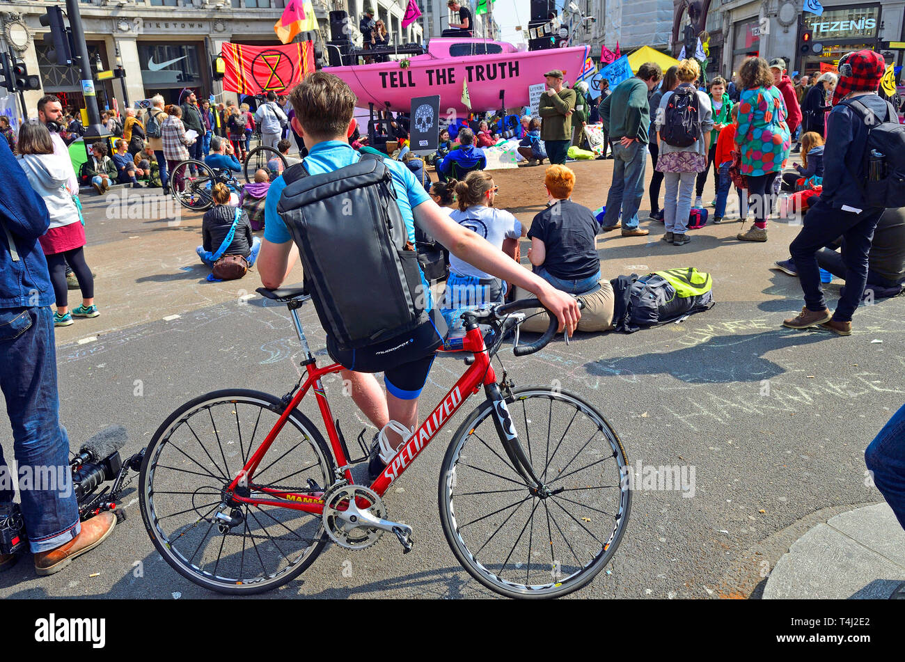 London, UK. 17th April, 2019. Environmental campaign group Extinction Rebellion bring traffic to a standstill in central London for the third day running, camping out in several locations around the city, to demand that the Government take emergency action on the climate and ecological crisis. Oxford Circus. Credit: PjrFoto/Alamy Live News Stock Photo