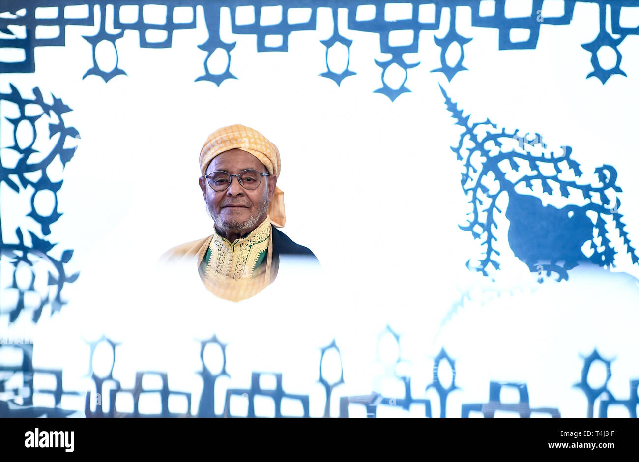 17 April 2019, Berlin: Storyteller El Haj Ahmed Ezzarghani stands in