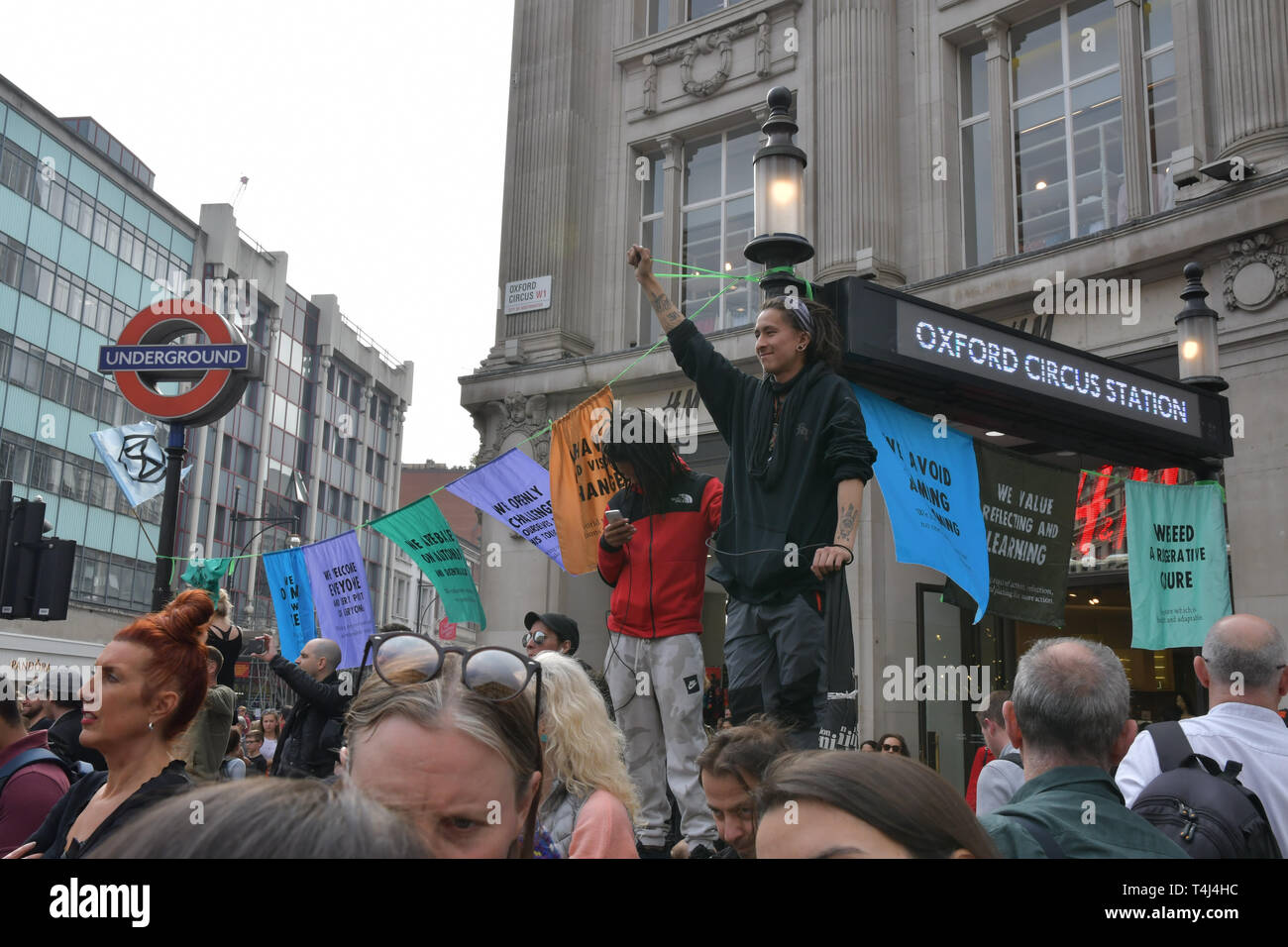 London, UK. 17th Apr, 2019. Activists demotration and camping in the middle of Oxford Street demand the UK govt to act on climate change or we will be camping as long as until we get our demand. As a journalist is it a threat or blackmail the UK govt. If the UK govt give in or surrender to their demand doesnt makes the govt weak? on 17 April 2019, London, UK. Credit: Picture Capital/Alamy Live News Stock Photo