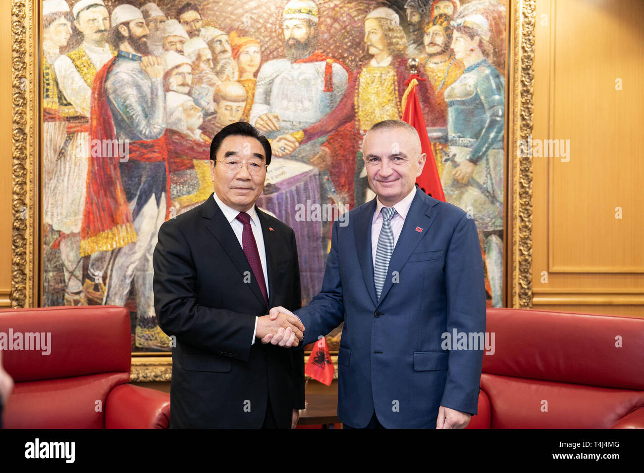 Tirana, Albania. 16th Apr, 2019. Albanian President Ilir Meta (R) meets with Zhang Qingli, vice chairman of the Chinese People's Political Consultative Conference (CPPCC) National Committee, who heads a visiting delegation of the CPPCC National Committee, in Tirana, Albania, April 16, 2019. Credit: Chinese Embassy in Albania/Xinhua/Alamy Live News - Stock Image