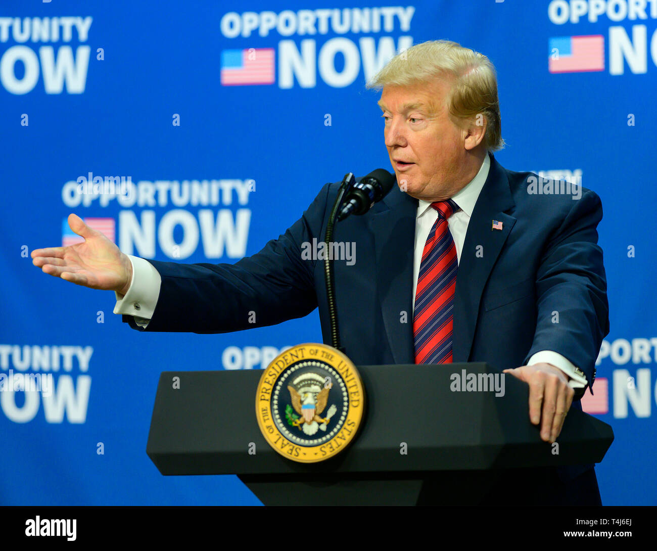 Washington, United States Of America. 17th Apr, 2019. United States President Donald J. Trump makes remarks at an Opportunity Zone conference with state, local, tribal, and community leaders in the South Court Auditorium of the White House in Washington, DC on April 17, 2019. Credit: Ron Sachs/CNP | usage worldwide Credit: dpa/Alamy Live News Stock Photo