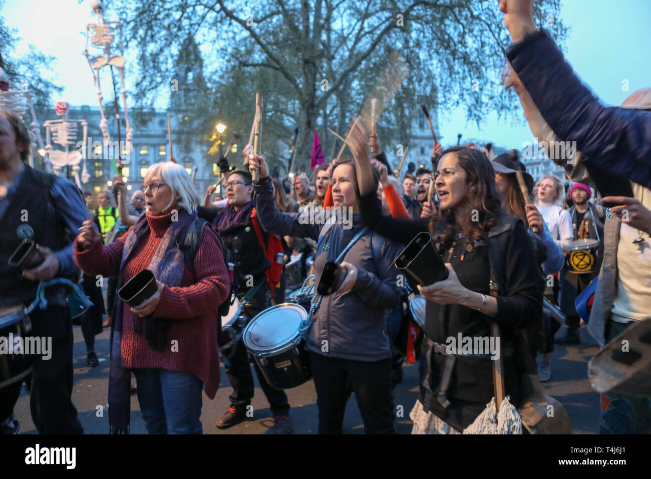 London, UK. 17th April, 2019. Parliament Square, London. Scenes at Parliament Square as environmental campaign group Extinction Rebellion close the square to through traffic. Credit: Penelope Barritt/Alamy Live News Stock Photo