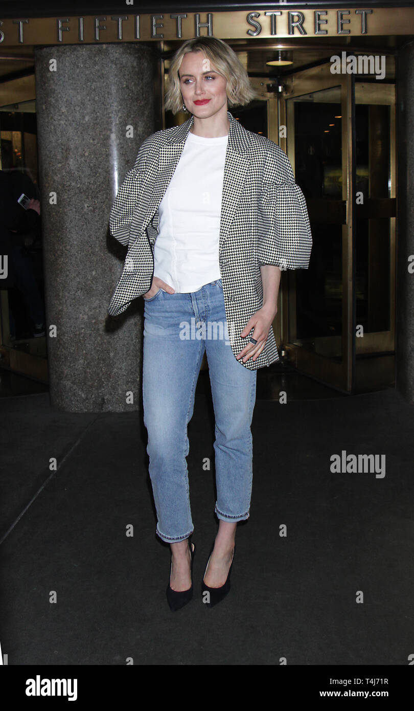 New York, NY, USA. April 17, 2019 Taylor Schilling at NY Live to talk her new movie Family in New York April 17, 2019 Credit:Credit:RW/MediaPunch/Alamy Live News Stock Photo