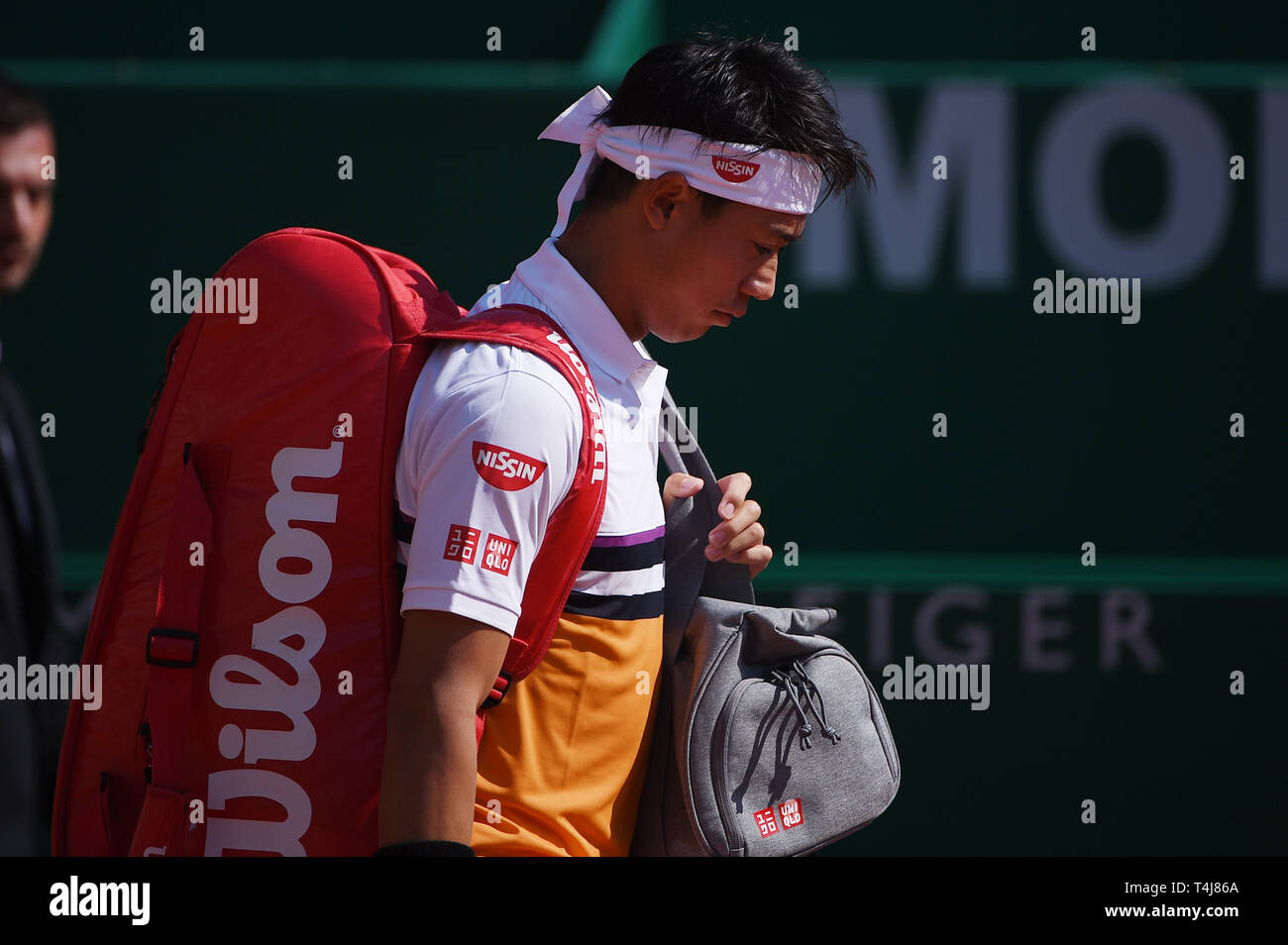 Roquebrune-Cap-Martin, France. 17th Apr, 2019. Kei Nishikori (JPN) Tennis : Men's Singles 2nd Round match during Monte Carlo Masters at Monte Carlo Country Club in Roquebrune-Cap-Martin, France . Credit: Itaru Chiba/AFLO/Alamy Live News Stock Photo