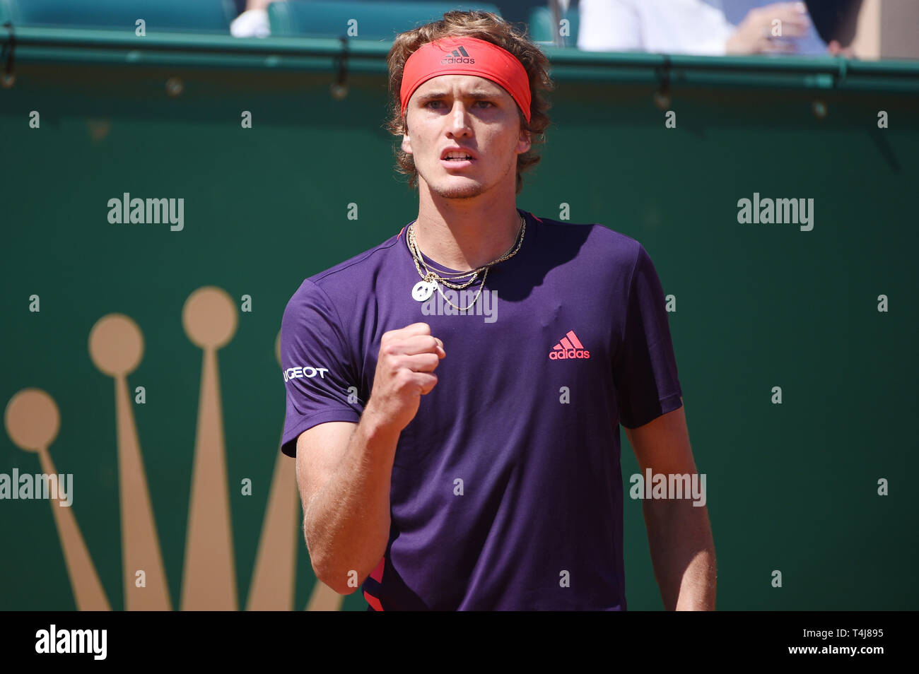 Roquebrune-Cap-Martin, France. 17th Apr, 2019. Alexander Zverev (GER) Tennis : Men's Singles 2nd Round match during Monte Carlo Masters at Monte Carlo Country Club in Roquebrune-Cap-Martin, France . Credit: Itaru Chiba/AFLO/Alamy Live News Stock Photo