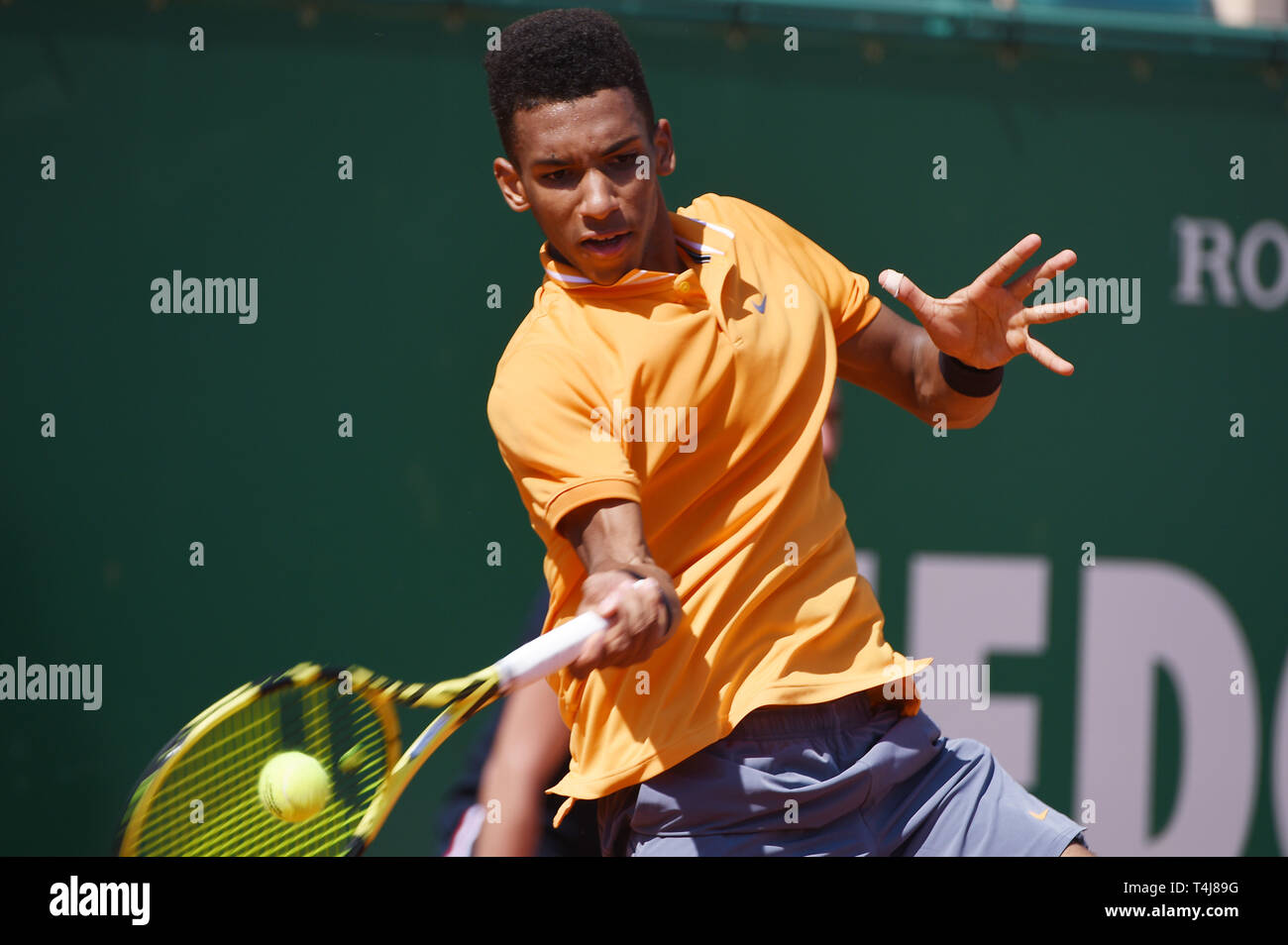 Roquebrune-Cap-Martin, France. 17th Apr, 2019. Felix Auger-Aliassime (CAN) Tennis : Men's Singles 2nd Round match during Monte Carlo Masters at Monte Carlo Country Club in Roquebrune-Cap-Martin, France . Credit: Itaru Chiba/AFLO/Alamy Live News Stock Photo