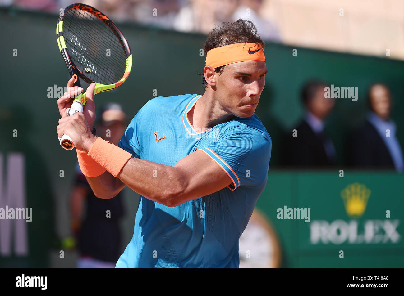 Roquebrune-Cap-Martin, France. 17th Apr, 2019. Rafael Nadal (ESP) Tennis : Men's Singles 2nd Round match during Monte Carlo Masters at Monte Carlo Country Club in Roquebrune-Cap-Martin, France . Credit: Itaru Chiba/AFLO/Alamy Live News Stock Photo