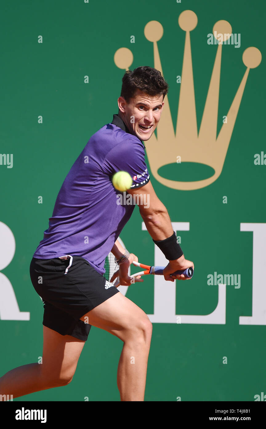 Roquebrune-Cap-Martin, France. 17th Apr, 2019. Dominic Thiem (AUT) Tennis : Men's Singles 2nd Round match during Monte Carlo Masters at Monte Carlo Country Club in Roquebrune-Cap-Martin, France . Credit: Itaru Chiba/AFLO/Alamy Live News Stock Photo