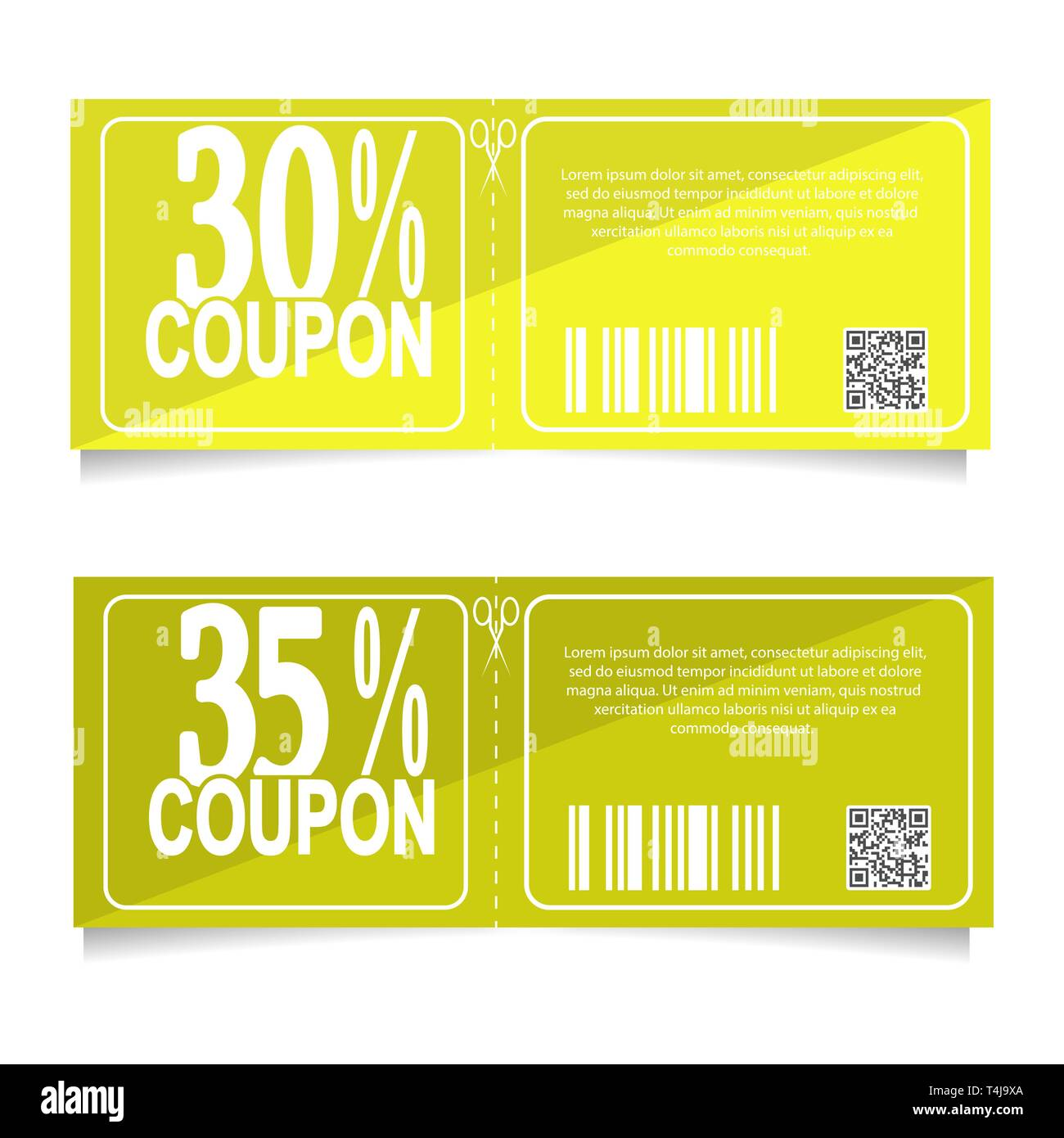 Design a coupon for a discount of 30 and 35 percent. Sale icon, shopping concept - Stock Vector