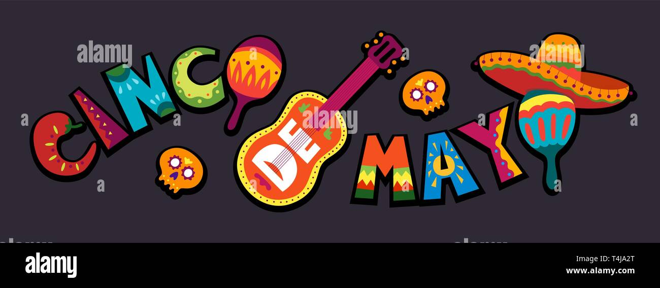 Cinco de Mayo celebration in Mexico. May 5, Latin America holiday. Colorful, detailed, lots of objects background. Vector template with traditional Me Stock Vector
