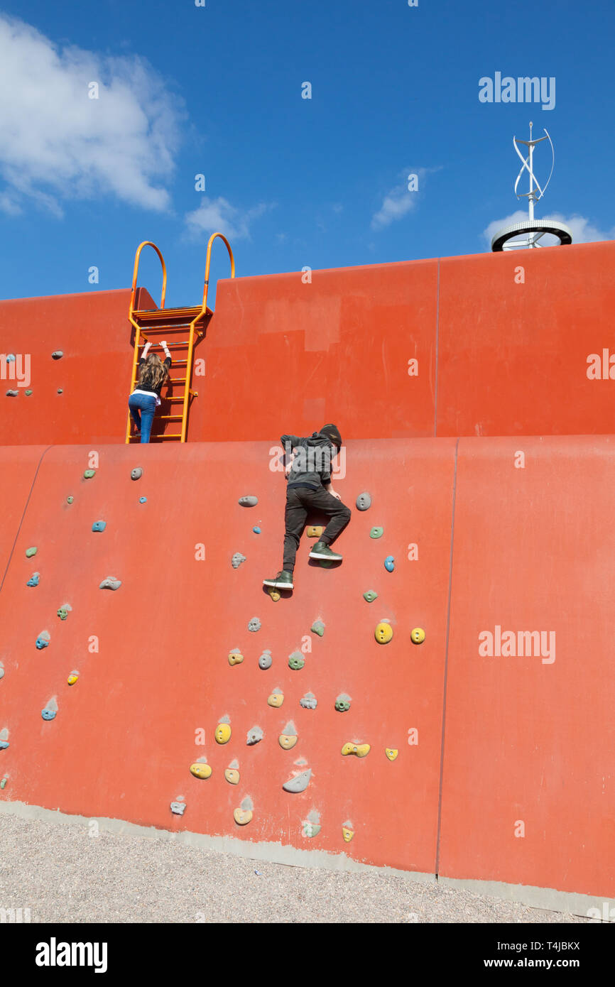 Climbing wall at the Queen Elizabeth Olympic park, Stratford, London, England, United Kingdom. - Stock Image