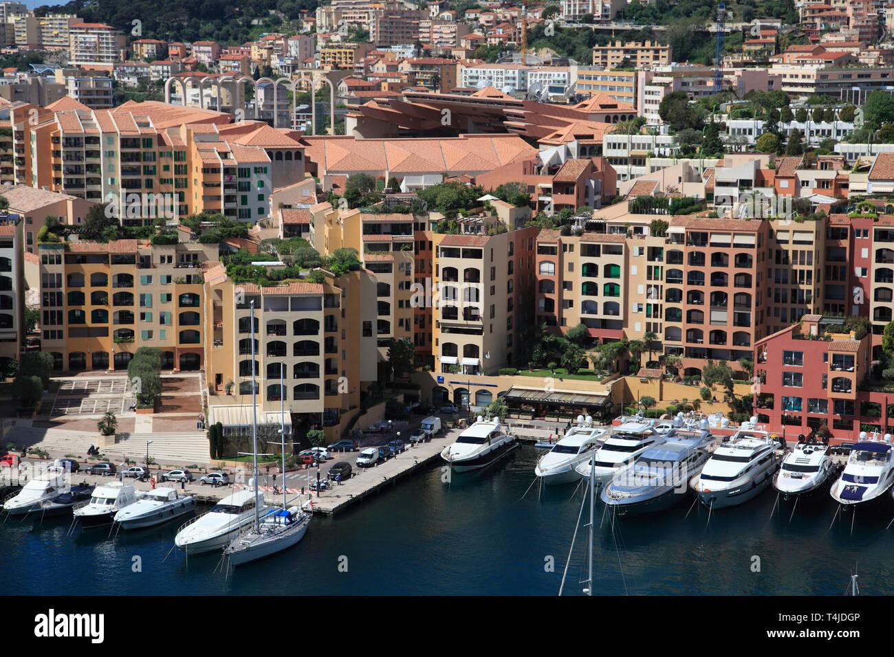 Port of Fontvieille, Fontvieille Harbor, Fontvieille, Monaco, Cote d Azur, Mediterranean, Europe - Stock Image