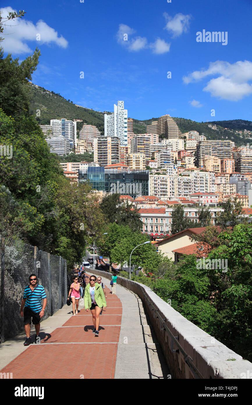 View of Monte Carlo from Monaco-ville, the Rock, Monaco, Europe - Stock Image