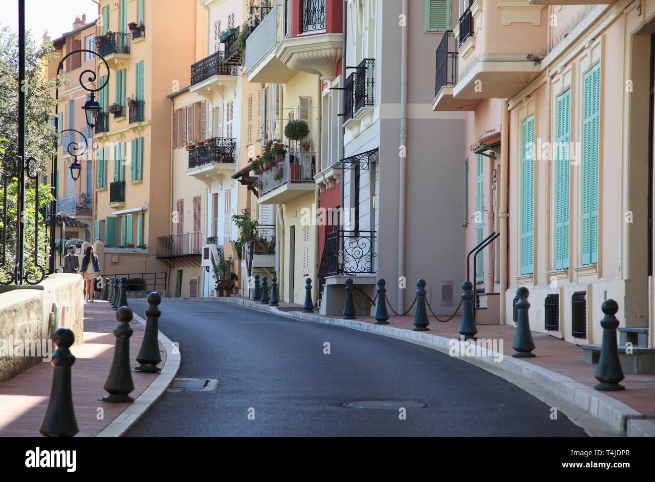 Monaco-Ville, Old Town, Le Rocher, The Rock, Monaco, Cote d Azur, Mediterranean, Europe - Stock Image