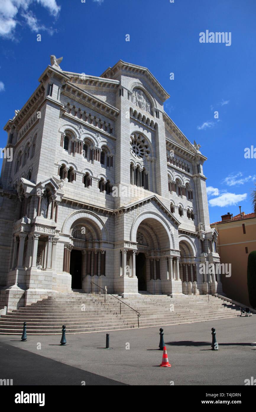 Saint Nicholas Cathedral, Monaco Cathedral, Monaco-Ville, Old Town, Le Rocher, The Rock, Monaco, Cote d Azur, Europe - Stock Image