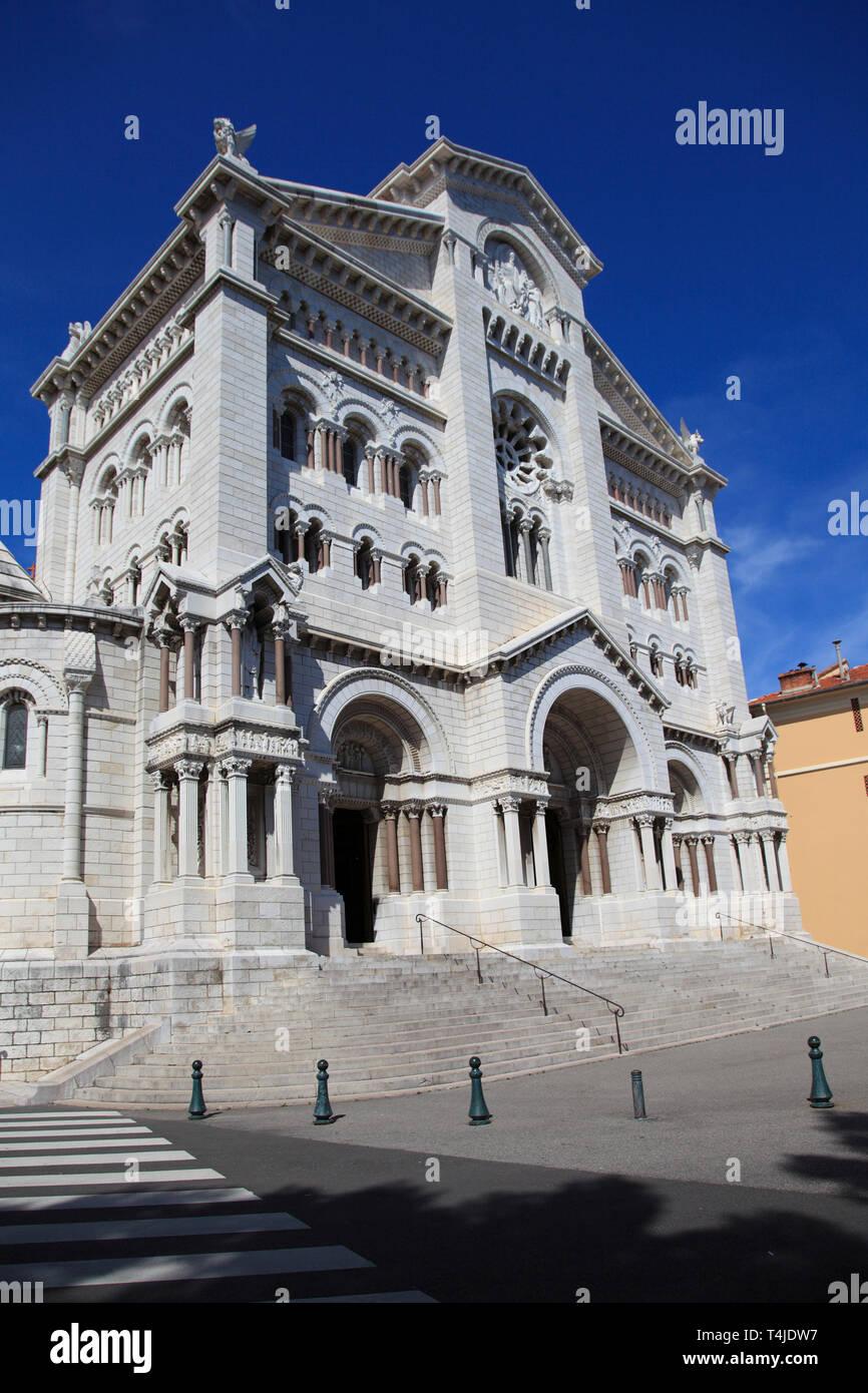 St. Nicholas Cathedral, Monaco Cathedral, Monaco-Ville, Old Town, Le Rocher (The Rock), Monaco, Cote d'Azur, Europe - Stock Image