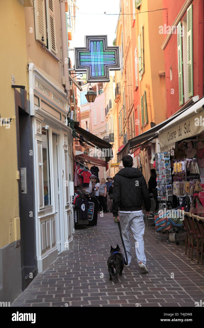 Monaco-Ville, Old Town, Le Rocher (The Rock), Monaco, Cote d'Azur, Mediterranean, Europe - Stock Image