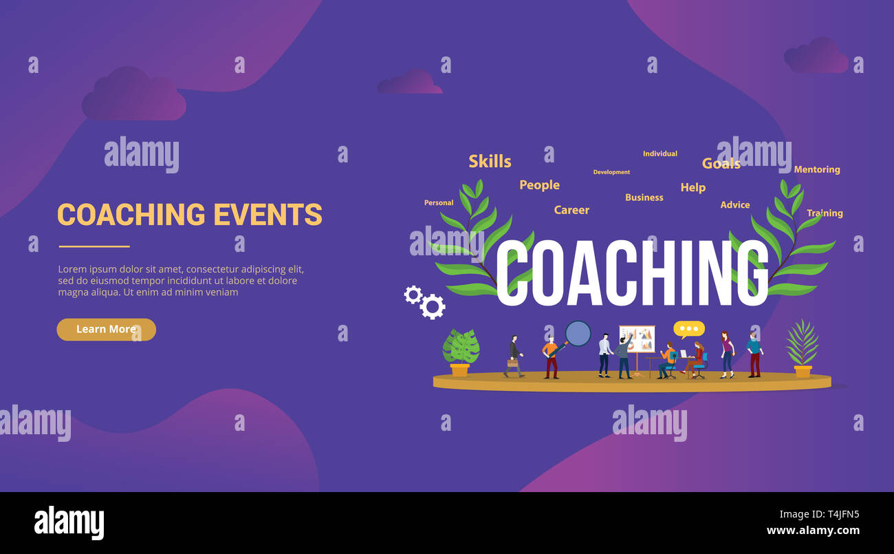 Coaching Concept With People Teching And Discussion To Share Education For Website Template Landing Homepage Banner Vector Illustration Stock Photo Alamy