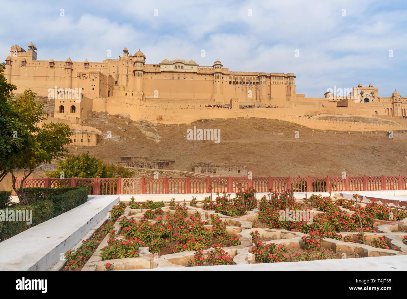 View of Amber fort and palace from Kesar Kyari Bagh garden on Maotha Lake. Jaipur. Rajasthan. India - Stock Image