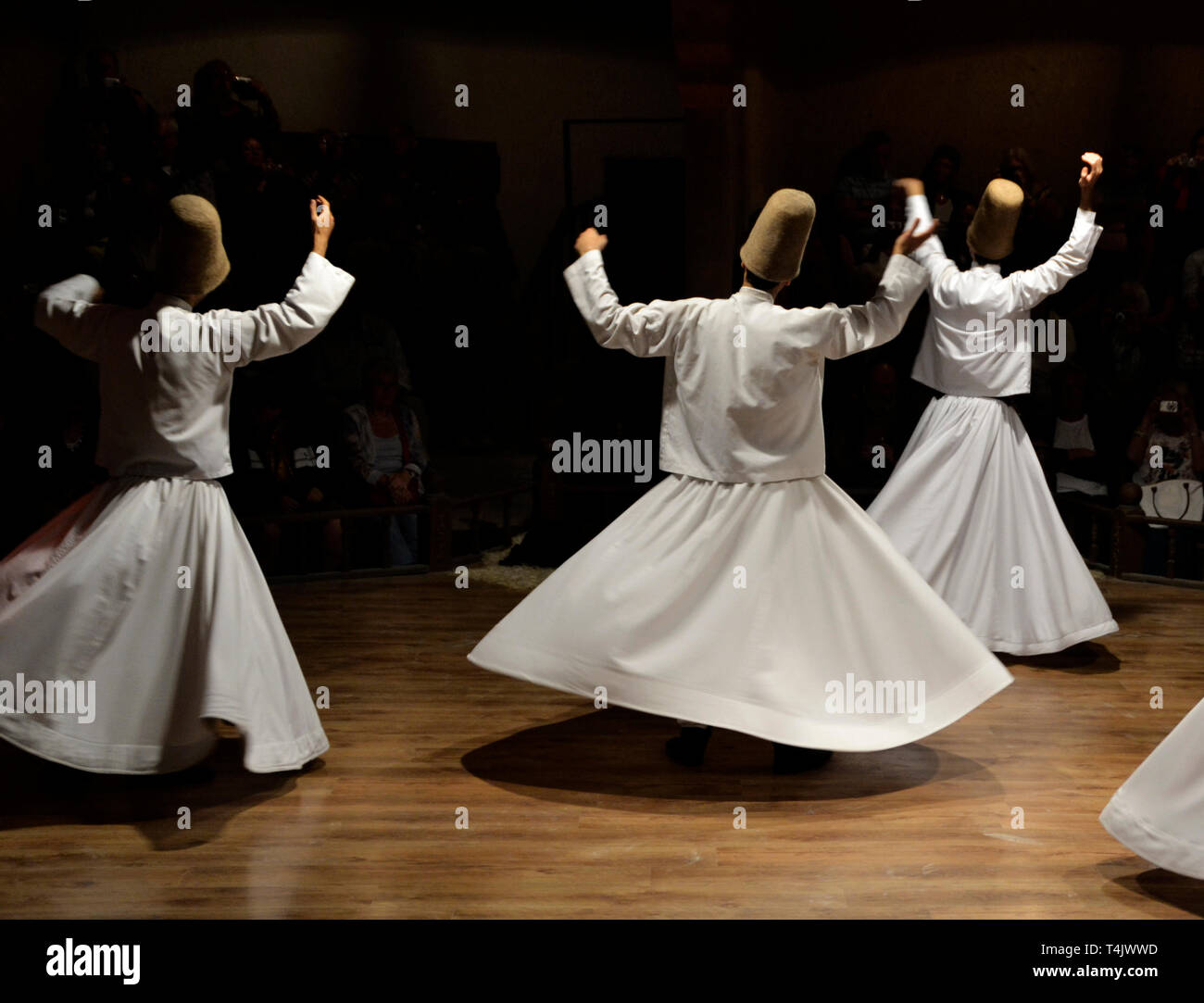 Whirling Dervishes show, sufi music, cappadocia, turkey - Stock Image